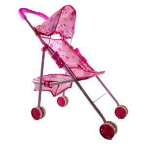 Καροτσάκι κούκλας ροζ μεταλικό με σχέδιο καραμέλες