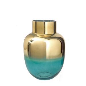 Γυάλινο βάζο πετρολ με ντεγκραντέ χρυσή επίστρωση