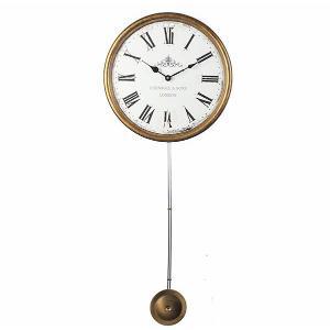 Ρολόι τοίχου με μακρύ εκκρεμές & ξύλινη κορνίζα με χρυσή πατίνα