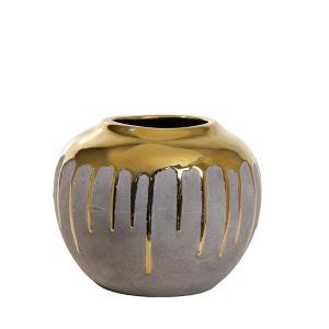 Κεραμικό βάζο επίχρυσο με υφή τσιμεντοκονίας