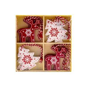Χριστουγεννιάτικο στολίδι ξύλινο ελαφάκια δεντράκια σετ 8 τεμαχίων