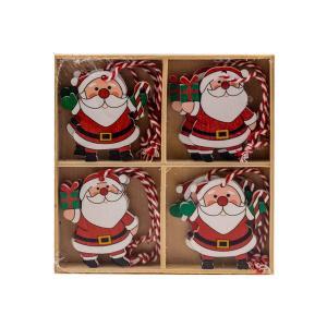 Χριστουγεννιάτικα στολίδια ξύλινα σετ 8 τεμαχίων Αγιοβασιλάκια