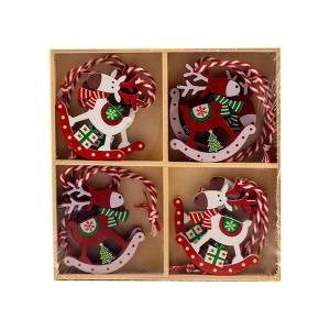 Χριστουγεννιάτικα στολίδια ξύλινα κρεμαστά τάρανδοι σετ 8 τεμαχίων