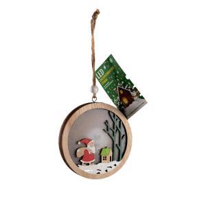 Χριστουγεννιάτικο στολίδι ξύλινο στρογγυλό με φώς Άγιος Βασίλης στο δάσος
