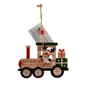 Χριστουγεννιάτικο σολίδι ξύλινο τρενάκι τάρανδος