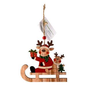 Χριστουγεννιάτικο στολίδι ξύλινο τάρανδος σε έλκυθρο
