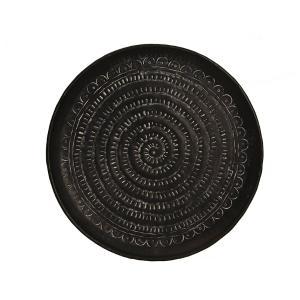 Σφυρήλατος δίσκος αλουμινίου, μαύρος με λευκή πατίνα