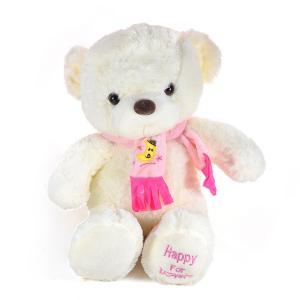 Αρκουδάκι λούτρινο 40 εκατοστά ροζ μπλε κασκόλ