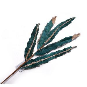 Χριστουγεννιάτικα διακοσμητικά φύλλα 2 χρώματα γκρενά πετρόλ