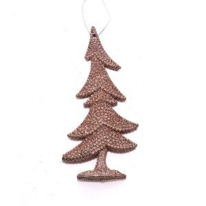 Χριστουγεννιάτικο στολίδι δεντράκι με glitter ροζ