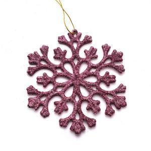 Χριστουγεννιάτικο στολίδι χιονονυφάδα κρεμαστό με glitter ροζ