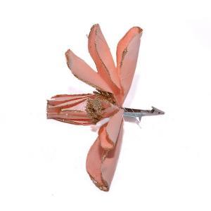 Χριστουγεννιάτικο διακοσμητικό λουλούδι μανόλια 3 χρώματα με glitter