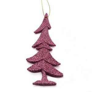 Χριστουγεννιάτικο στολίδι δεντράκι κρεμαστό με glitter ροζ