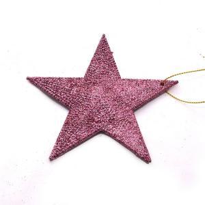 Χριστουγεννιάτικο στολίδι αστέρι ροζ με glitter κρεμαστό
