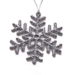 Χριστουγεννιάτικο στολίδι χιονονυφάδα κρεμαστό με glitter ασημί