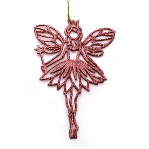Χριστουγεννιάτικο στολίδι νεράιδα του χιονιού κρεμαστό με glitter