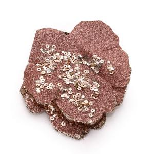 Χριστουγεννιάτικο διακοσμητικό φύλλο ψεκασμένο με glitter με πούλιες και πέρλες σε αποχρώσεις ροζ
