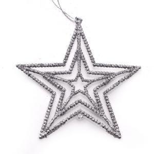 Χριστουγεννιάτικο στολίδι αστέρι κρεμαστό με glitter ασημί
