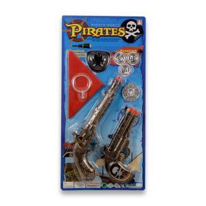 Δύο πιστόλια σετ πειρατή σε καρτέλα πλαστικό παιχνίδι