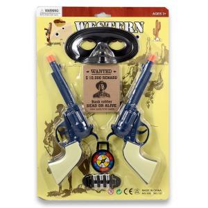 Δύο πιστόλια cowboy σετ σε καρτέλα πλαστικό παιχνίδι