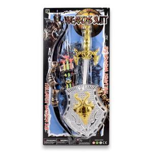 Σπαθί ,τόξο & ασπίδα σετ σε καρτέλα πλαστικό παιχνίδι