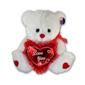 Λούτρινο αρκουδάκι καρδία λευκό 35 εκατοστά