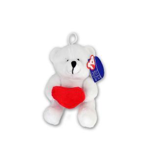 Λούτρινο αρκουδάκι λευκό 10 εκατόστα