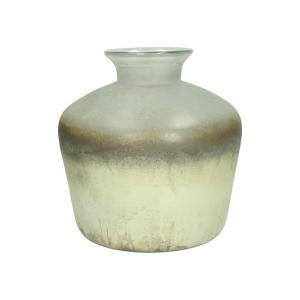 Γυάλινο βάζο με ειδική επεξεργασία σε κρεμ/χρυσό