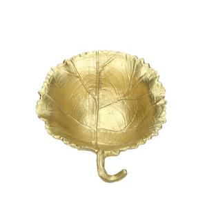 Μπώλ σε σχήμα φύλλο από αλουμίνιο ματ χρυσό 17χ15 εκατοστά