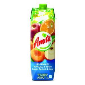 Amita Πορτοκάλι-Βερίκοκο-Μήλο 1L