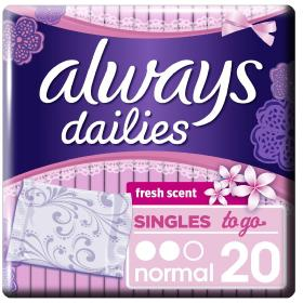 Always Dailies Singles to Go Σερβιετάκια Normal Fresh Scent, 20τμχ.
