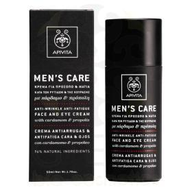 Apivita Men's Care Κρέμα για Πρόσωπο και Μάτια κατά των Ρυτίδων και της Κούρασης με Κάρδαμο και Προπόλη, 50ml