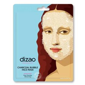 Dizao Natural Masterpieces Bubble Mask, Εμποτισμένη Υφασμάτινη Μάσκα προσώπου με ενεργό άνθρακα, 1τμχ