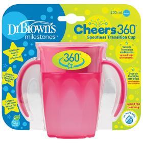 Dr.Brown's Εκπαιδευτικό Κύπελλο 360° με λαβές 6m+ ροζ, 200ml