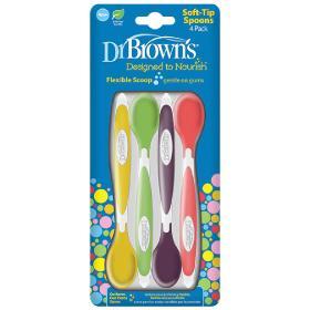 Dr.Brown's Κουταλάκια Ταΐσματος Μαλακά, Πράσινο-Κίτρινο-Κόκκινο-Μωβ 4m+, 4τμχ