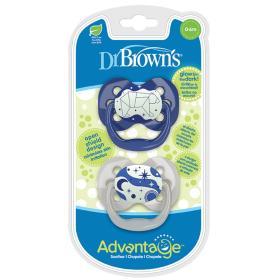 Dr.Brown's Ορθοδοντικές Πιπίλες Σιλικόνης Advantage Πεταλούδα Νύχτας 0-6 μηνών, Μπλε Αρκούδα, Glows in the night, 2τμχ.