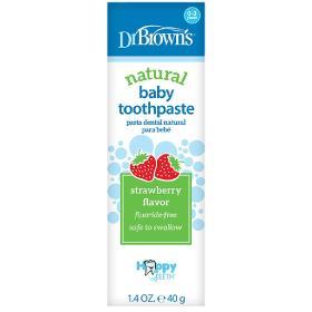 Dr.Brown's Βρεφική Οδοντόκρεμα χωρίς Φθόριο με Γεύση Φράουλα 0-3 ετών, Natural Baby Toothpaste, 40gr