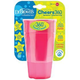 Dr. Brown's Κύπελλο Cheers 360° χωρίς Λαβές 9m+ Ροζ, 300ml