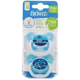 Dr.Brown's Ορθοδοντικές Πιπίλες Σιλικόνης PreVent Contoured, Πεταλούδα, 0-6μηνών, Μπλε Φάλαινα, 2τμχ