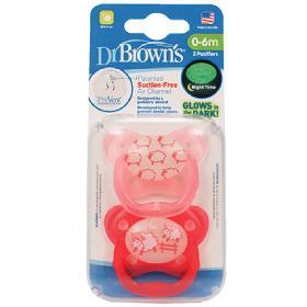 Dr.Brown's Ορθοδοντικές Πιπίλες Σιλικόνης PreVent Contoured, Πεταλούδα Νυκτός, 0-6μηνών, Ροζ Προβατάκι, Glows in the Night, 2τμχ