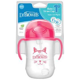 Dr.Brown's Εκπαιδευτικό Κύπελλο με λαβές, εύπλαστο καλαμάκι και βαρίδιο, ροζ, 270ml