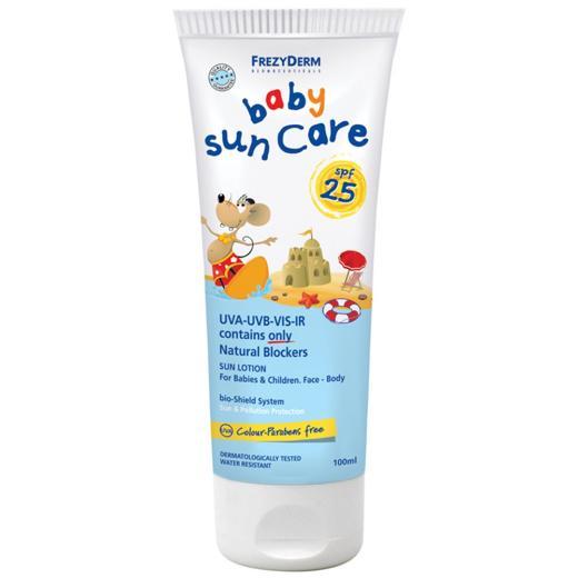 Frezyderm Baby Sun Care SPF 25, Βρεφικό Αντηλιακό με φυσικά φίλτρα για πρόσωπο και σώμα SPF 25, 100ml