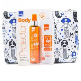 Intermed Luxurious Suncare Set Antioxidant Sunscreen, Invisible Spray SPF50 Διάφανο Spray με Βιταμίνη C 200ml & Luxurious Sun Care Tanning Oil SPF6 Ξηρό Λάδι Μαυρίσματος, 200ml