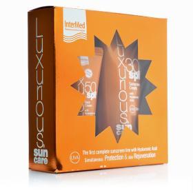 Intermed Luxurious Sun Care, Κρέμα Προσώπου SPF50 75ml & Αντιηλιακή κρέμα σώματος SPF30 με Υαλουρονικό οξύ 200ml