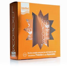 Intermed Luxurious Sun Care, Κρέμα Προσώπου SPF50 75ml & Αντιηλιακή κρέμα σώματος SPF50 με Υαλουρονικό οξύ 200ml