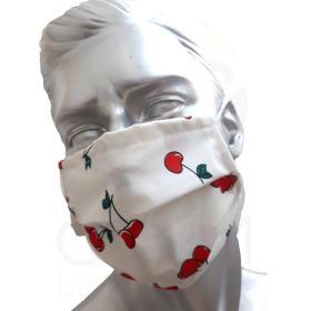 Προστατευτική Μάσκα Προσώπου πολλαπλών χρήσεων, από 100% Βαμβάκι, με διπλό ύφασμα και σχέδιο κεράσι, ελληνικής κατασκευής