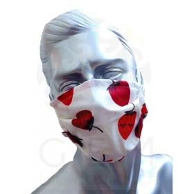 Προστατευτική Μάσκα Προσώπου πολλαπλών χρήσεων, από 100% Βαμβάκι, με διπλό ύφασμα και σχέδιο φράουλες, ελληνικής κατασκευής