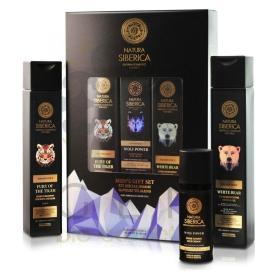 Natura Siberica Men's gift set full (Super Refreshing Shower Gel White Bear, 250 ml, Energy Shampoo for Body and Hair Fury of the Tiger, 250 ml, Super Toning Face Cream Wolf Power, 50 ml)