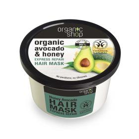 Organic shop Hair Mask Honey Avocado, Μάσκα μαλλιών για γρήγορη επανόρθωση, Βιολογικό Αβοκάντο & Μέλι 250ml