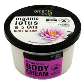 Organic shop Indian Lotus Body Cream, κρέμα σώματος Λωτός & 5 Έλαια, 250ml.